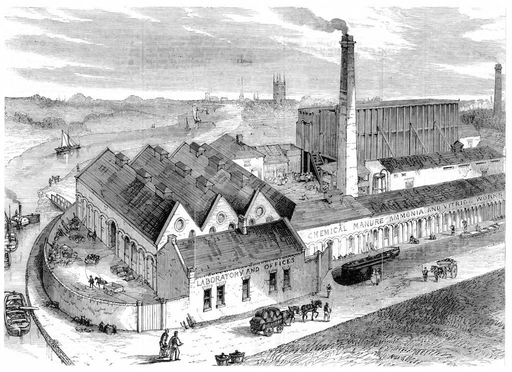 Ilustração de fábrica têxtil do